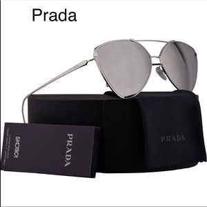 33b0ef2e8a NWT Authentic Prada Sunglasses mirrored metal Gray